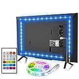 Bason TV LED Backlight, 14.76ft USB Led Lights Strip for 60-70 TV/Monitor Backlight, LED TV Lights with Remote, 4096 DIY Colors TV Bias Lighting for HDTV, PC,Updated.