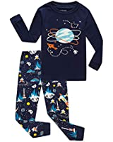 Family Feeling Space Little Boys Long Sleeve Pajama Sets for Child 100% Cotton Pyjamas Toddler Kids Pjs Size 6 Blue