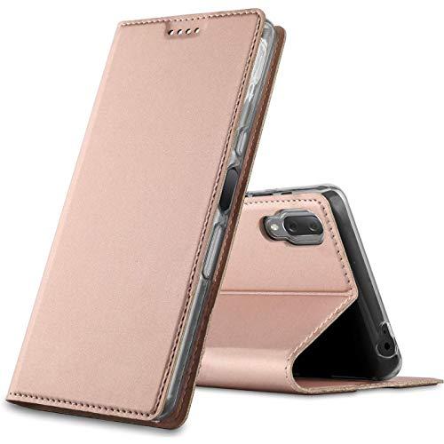 Conie® Bookstyle PU Lederhülle für Sony Xperia L3, Booklet Cover Etui mit Kartenfächer klappbare Handytasche, Rosegold