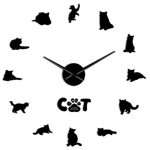 YQMJLF Reloj Pared DIY 3D Grande Gato Pelo Corto Pegatina Pared Decorativo DIY Reloj Pared Grande Gato Gris sin Marco Silueta Gato números Reloj Moderno Reloj Decor Navidad Regalos Negro