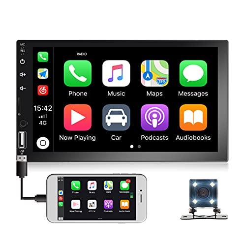 Radio de Coche de Doble DIN con Bluetooth, Reproductor de Coche con Pantalla táctil de 7 Pulgadas Compatible con CarPlay y Android Auto, Mirror Link, Radio FM, Audio con cámara de visión Trasera