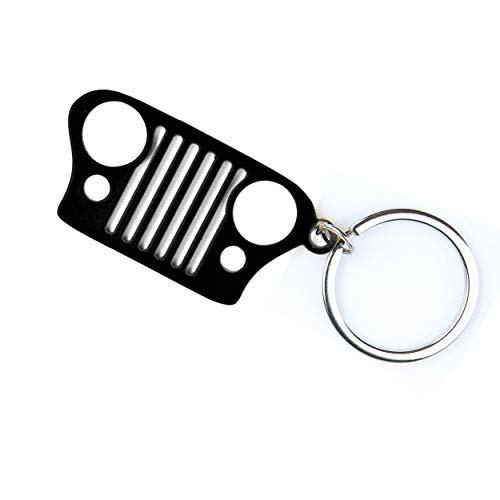 Car Key Chain Front Grill Design and Stainless Steel Material Black