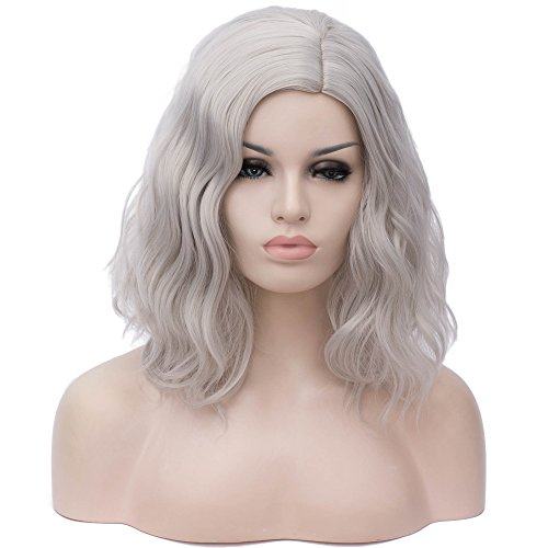 BERON 14' Women Girls Short Curly Bob Wavy Wig Body Wave Halloween Cosplay Daily Party Wigs (Silver Grey)
