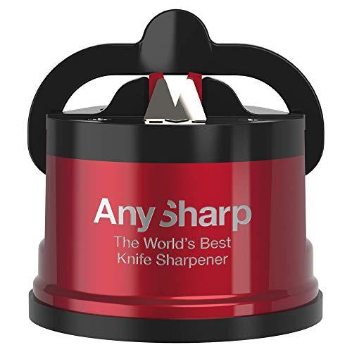 ANYSHARP Pro Aiguiseur de Couteaux (Métal) avec Ventouse (Rouge)