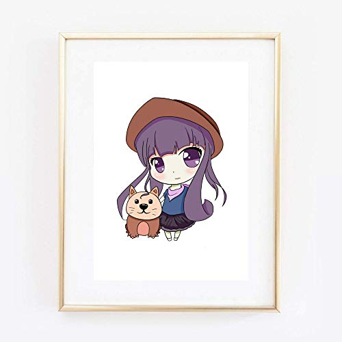 Kunstdruck Din A4 ungerahmt Süßes Anime Girl mit Katze Manga Mangamädchen Kawaii Japan Poster Bild