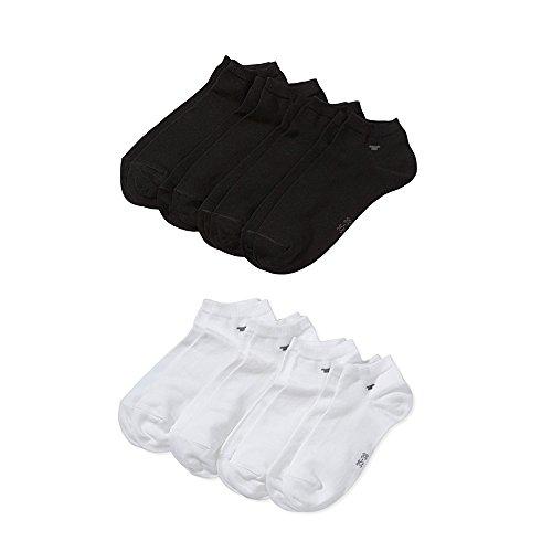 TOM TAILOR Unisex - Erwachsene Sneakersöckchen 4-er Pack, 9415 unisex sneaker 4 pack (Farbmix - 4Paar Schwarz 4Paar Weiss, 1 X 8 Paar Vorteilspack 35/38)