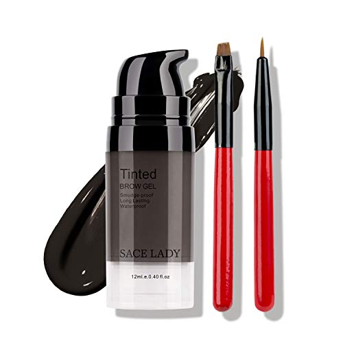 Eyebrow Gel Kit with 2PCS Eyebrow Brushes, Tinted Long Lasting Cruelty Free Eyebrow Gel for Daily Natural Waterproof Eyebrow Makeup, Flake-proof, Smudge-proof, Black Brown