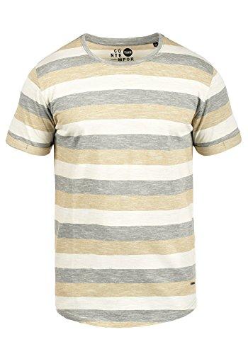 !Solid Thicco Herren T-Shirt Kurzarm Shirt Streifenshirt Mit Streifen Und Rundhalsausschnitt 100% Baumwolle, Größe:M, Farbe:Dusty Oliv (3784)