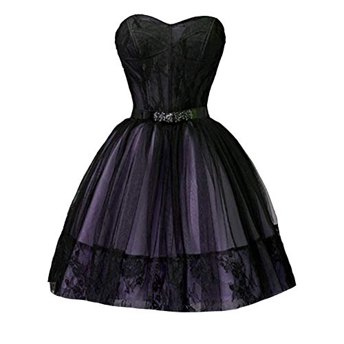 Kivary Plus Size Black Gothic Short Ball Gown Prom Homecoming Dress Lavender US 22W