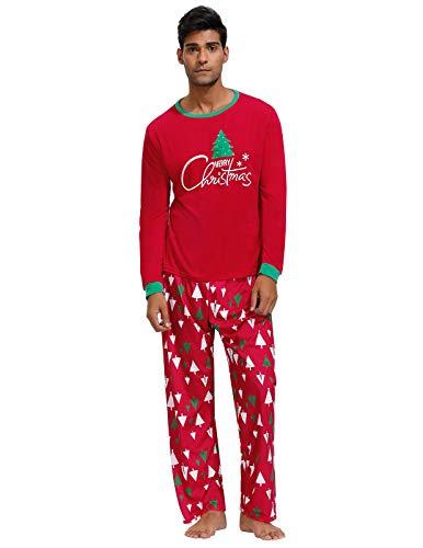Mens Winter Pajamas Cozy Loungewear Set for Xmas Snow Nightwear Christmas Tree Printed Pj Set Christmas Tree L