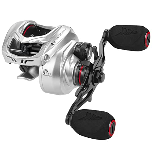 KastKing Spartacus II Baitcasting Fishing Reel, 6oz Ultralight, Super Smooth with 17.6 LB Carbon Fiber Drag, 7.2:1 Gear Ratio, 39mm Palm Perfect Lower Profile Design,lash Silver,Left Handed
