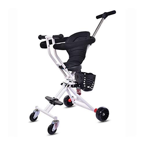 SONG Dreiräder Klappwagen Quad for Kinder Licht Baby Zum Auto Mit Sicherheitszaun Baby Spielzeug Geschenk Outdoor Tragbares Allradfahrzeug (Color : White)