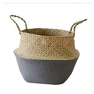 織り籐収納ボックス、手作り竹北欧折りたたみ式ランドリーストロー籐ガーデンフラワープランターバスケット(カラー:J、サイズ:32CM)
