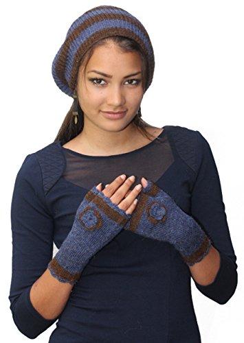 Handgefertigt leicht Pure Alpaka Barett/Handschuhe Set (Schiffe aus Frankreich)