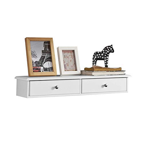 SoBuy® FRG43-W Mensola con cassetti, Libreria, porta gioielli a chiavi,bianco