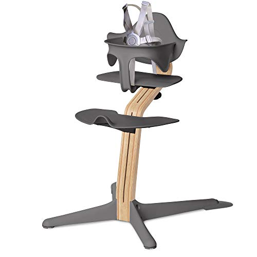 Nomi High Chair, Gray - White Oak Wood, Modern Scandinavian Design with a Strong Wooden Stem, Baby Through Teenager & Beyond with Seamless Adjustability, Award Winning Highchair (18-2101081)