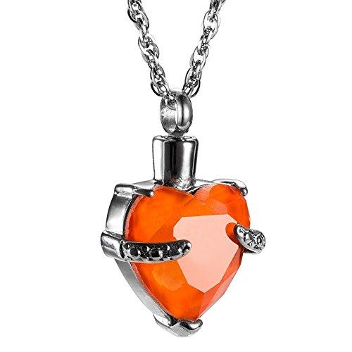 Amody Acero Inoxidable Piedra de Zirconia Corazón Colgante Urna Joyería Colgante Collar De Cenizas