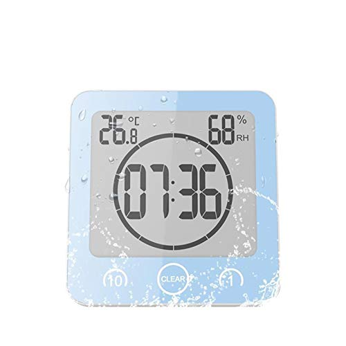 SSBH Ssbhjxb LCD Reloj de Pared Digital Impermeable Ducha baño Pared succión Reloj Temporizador Cuenta Regresiva Alarma Tiempo Temperatura Humedad medidor Despertador (Color : Blue)