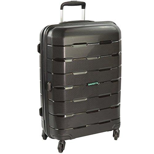 Davidt's Substantial 4 Wheel Hardshell Suitcase/Luggage (Medium, Black)