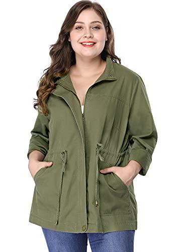 Agnes Orinda Women's Plus Size Stand Collar Drawstring Utility Jacket 3X Army Green