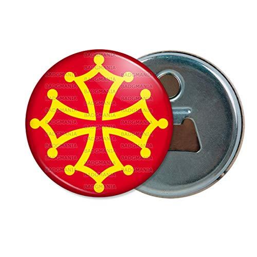 Décapsuleur Aimanté Magnet Croix Occitane Occitanie Languedoc Toulouse Sud France Or Rouge Ouvre Bouteille Refrigerateur