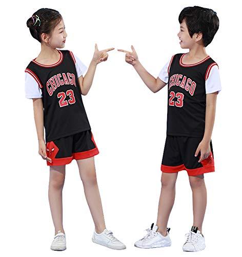 Bulls Jordrn # 23 Kinder Basketball Trikots, Top und Shorts 2-teiliges Set für Jungen Ärmellose Weste Top Shorts Training Sommersport Trikot-Black-XXXS