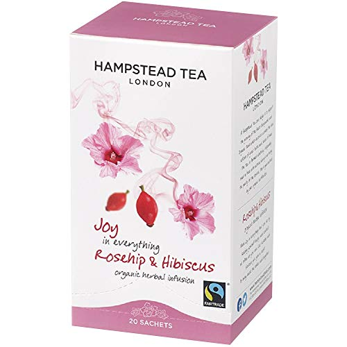 Hampstead Tea London Organic Biodynamic Revitalizing Infusion Hibiscus Roseflower / Herbal Rose y Té De Hibisco Revitalizante - 1 x 20 bolsas (30 gramos)
