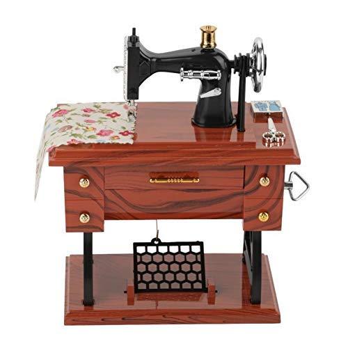 HXHBD Máquina de Coser DIY Máquina de música Mini Retro Creativo mecánico mecánico Cumpleaños de cumpleaños Decoración del hogar * Número de Producto :WW-15 Regalo de Caja de música