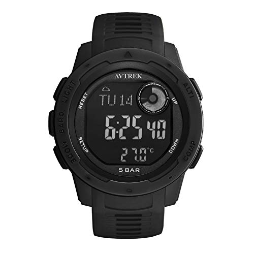 AVTREK Compass Watch,Pedometer Calorie Watch,Altimeter Barometer Thermometer Temperature, Fashion Cool Military Army Waterproof Outdoors Sport Digital Mountaineering Watch for Men and Women (Black)