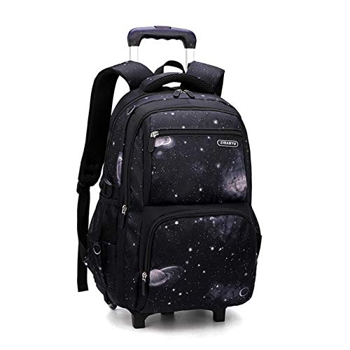 Trolley School Bag, Large-Capacity 2-Wheeled Hand Luggage Backpack for Middle School Students, Wheeled Cabin Suitcase (Color : B)