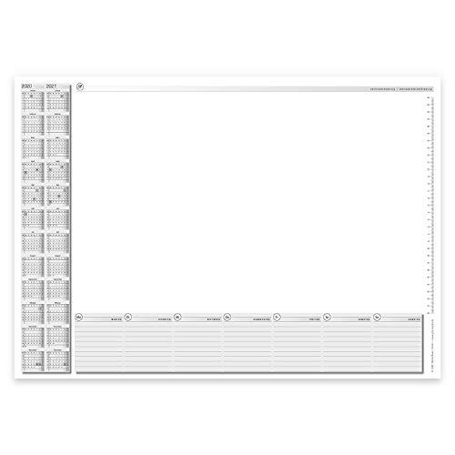 Schreibtischunterlage mit 2-Jahres-Kalender I DIN A2 I 40 Blatt I aus Papier zum Abreißen I Kalendarium 2020 2021 I dv_506 (Weiß)