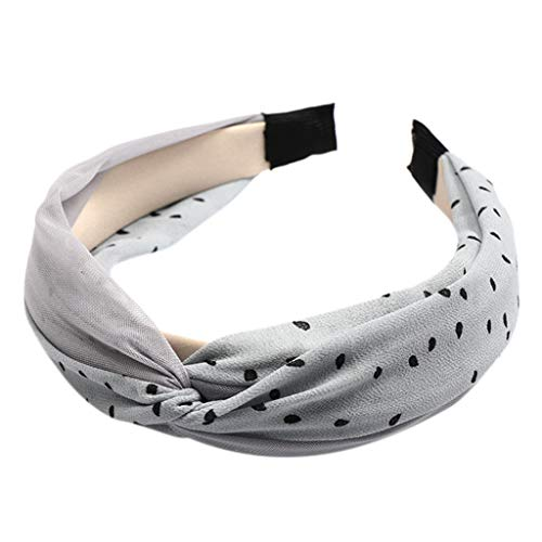 Damen Dot und Gaze Stirnband Stoff Haarband Kopf wickeln Haarband Zubehör,2019 New Koreanisches Damen Stirnband Wave Point Haarband Fliege Samt breiter Krempe Headwrap Stirnband (Grau)