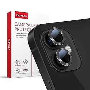 [2 Pcs]Protector Camara iPhone 12/12 Mini, Baytion Protector de Lente de Aleación de Aluminio de 360 Grados [Resistencia al Rayado] [Color Original] - Negro