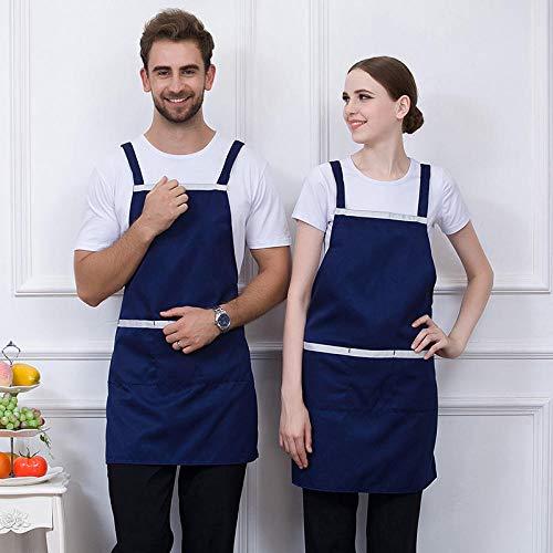 Dtcat Küche und Kochen Damenschürze,Tooling hängenden Hals Schürze,Grill Küchenchef Milch Tee Kellner Overalls Schürze @ blau,verstellbare Kochschürze mit Taschen