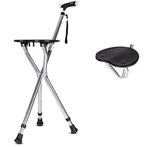 WuLien Gehstock Mit Sitz, faltbar gehender Stock, rutschfeste Verschleißfeste, Höhenverstellbar ultraleichte Aluminiumlegierung 0,9kg maximales Benutzergewicht 200kg,Massage, 1PCS
