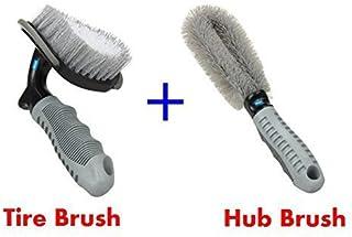 NIKAVI Car Motorcycle Wheel Tire Brush + Hub Clean Brush Cleaning Tool Kit,Set of 2