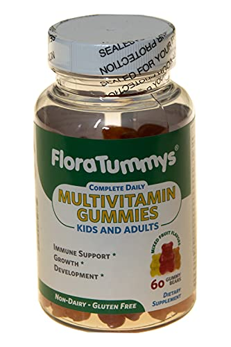 FloraTummys ALLERGEN Free MULTIVITAMIN Gummies for Kids and Adults, 60 Complete Daily Gummies with Pectin. Mixed Fruit Flavor