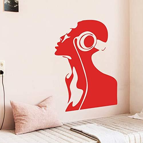 ganlanshu Art Design Vinile Decorazioni per la casa Music Girl Wall Sticker Decorazione casa Mobile Musicista di Moda Applique 43cmX61cm