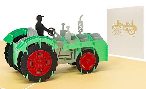 LIMAH Pop Up 3D Trecker/Traktor Geburtstagskarte für Landwirte und Bauern, Glückwunschkarte, Freundschaftskarte, Geschenkkarte, Überraschungskarte auch zum Erntedankfest geeignet
