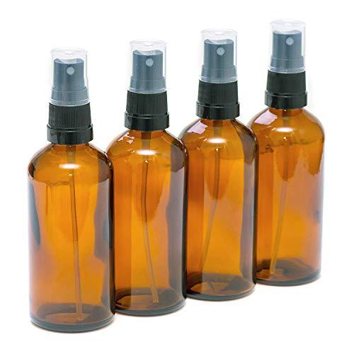 Pack de 4 botellas con atomizador negro - Cristal ámbar - 100...