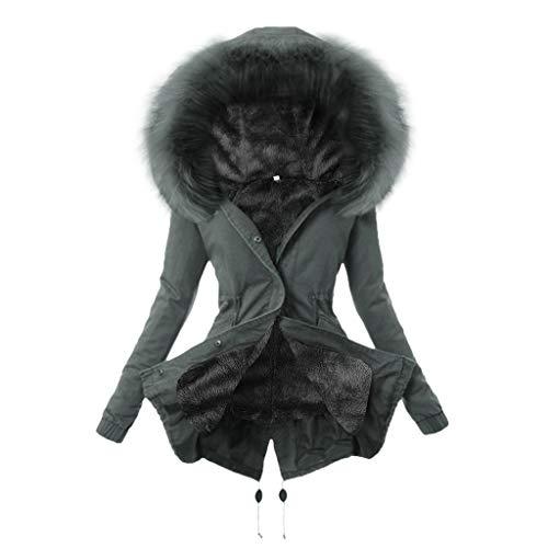 Winterjacke Damen mit Fell Parka mit Pelzkapuze Dicker Coat Mantel Warm Gefüttert Jacke Frauen Frühling Herbst Regenjacke Strickjacke Windjacke Trenchcoats PlüSchmantel übergangsjacke