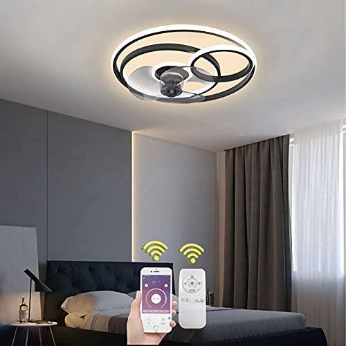 ventilatore da soffitto x negozio Dimmerabile Ventilatori da Soffitto con Lampada Moderno LED 55W Squillare Fan Plafoniera con Telecomando e APP Mobile Ventilatore da Soffitto Invisibile Nero Lampadario Fan Soggiorno Illuminazion