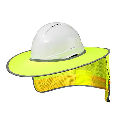 QiKun-Home Casco de protección Solar de Verano Cuello Cubierta Protectora Transpirable Casco Visera de Sol Rayas Reflectantes Sombrero de sombrilla Amarillo