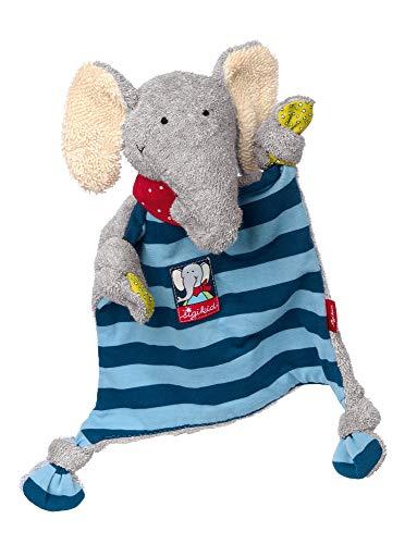 sigikid Mädchen und Jungen, Schnuffeltuch, Elefant Lolo Lombardo, Baby-Kuscheltuch Blau/Grau, 48935
