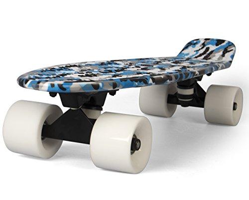 SportPlus Uni Ezy Mini-Cruiser Skateboard, Camouflage Blau, 56 cm