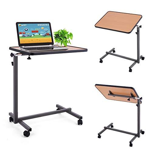 DREAMADE Beistelltisch, Betttisch Laptoptisch Pflegetisch Notebooktisch, Höhenverstellbar Neigungsverstellbar mit Rollen und Bremsen (Natur)