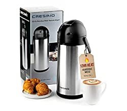 top rated Cresimo 101 Oz (3L) AirpotThermal Coffee Carafe and Coffee Server / Lever / Stainless Steel… 2021
