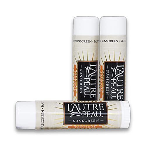SPF 30 Sunscreen Multi-Pack by L'AUTRE PEAU | Travel Size Sunscreen for Men, Women, and Kids | Non-Greasy Water Resistant | Tropical Scent | TSA Approved | (3 Pack Suncreen Stick)