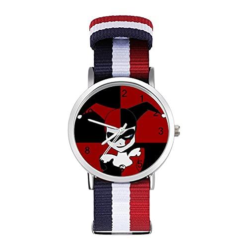 Clown Joker Harley QuinnBraided Band Reloj con escala Moda Negocios Ajustable Banda Impresión Color Banda Adecuado tanto para Hombres como Mujeres
