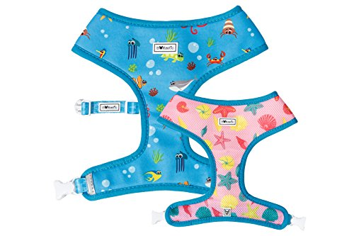 Bulltastic Under The Sea Reversible Dog Harness - Reversible, Comfortable, Adjustable, Easy to Clean - Fits Bulldogs, Pugs, and Other Dog Breeds